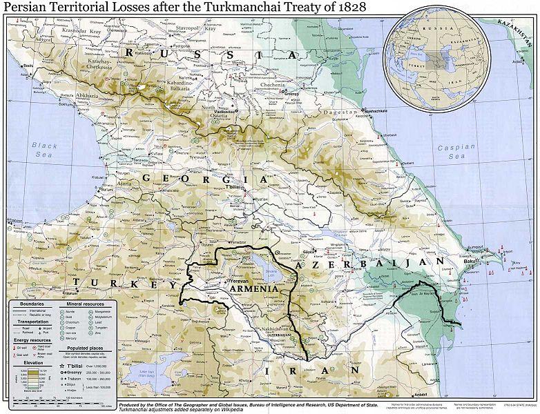 خطوط مرزی ایران و روسیه بعد از معاهده گلستان و پیش از ترکمنچای(خط سیاه رنگ)