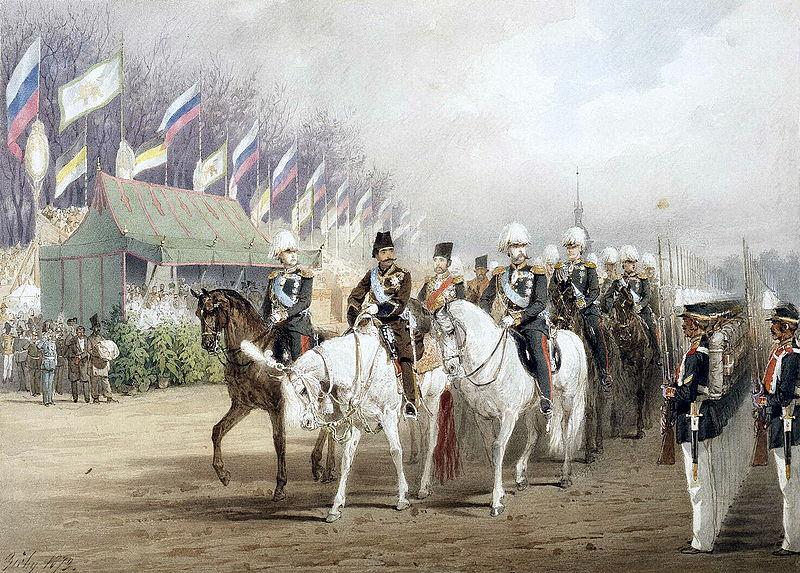 الکساندر دوم و ناصرالدین شاه در جریان مراسم استقبال از شاه قاجار در اولین سفرش به اروپا