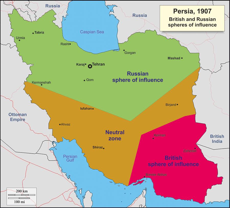 تقسیم ایران بین انگلستان و روسیه براساس قرارداد 1907