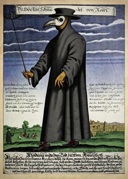 ماسک و لباس محافظی که در زمان شیوع طاعون سیاه بسیاری از مردم استفاده کردند. تصور می شد این پوشش بتواند جلوی ابتلا به طاعون سیاه را بگیرد