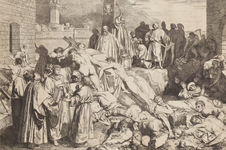 نقاشی قدیمی ازشیوع طاعون در اروپا