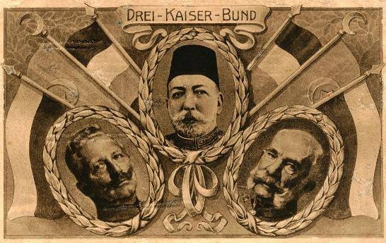 پوستر تبلیغاتی متحدین با حضور سلطان محمدپنجم، امپراتور فرانتس ژوزف و امپراتور ویلهلم دوم